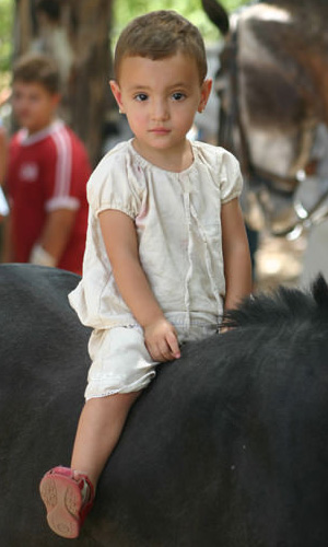 Baby portrait on horseback