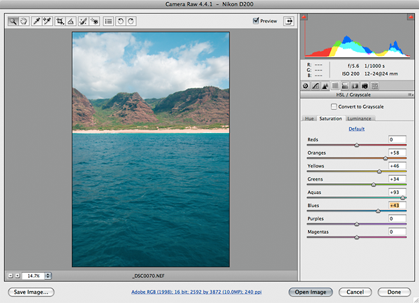 Adobe Camera RAW - using the HSL/Grayscale Tab