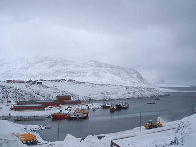 A view to Nuuk taken on a cloudy day
